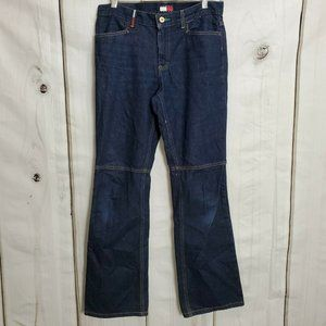 Tommy Hilfiger Women's Jeans Size 9 Knee Seamed Hipster Flare Mid Rise Dark Wash